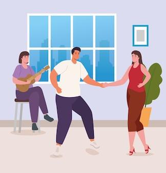 Mensen dansen en gitaar spelen thuis ontwerp van activiteit en vrije tijd