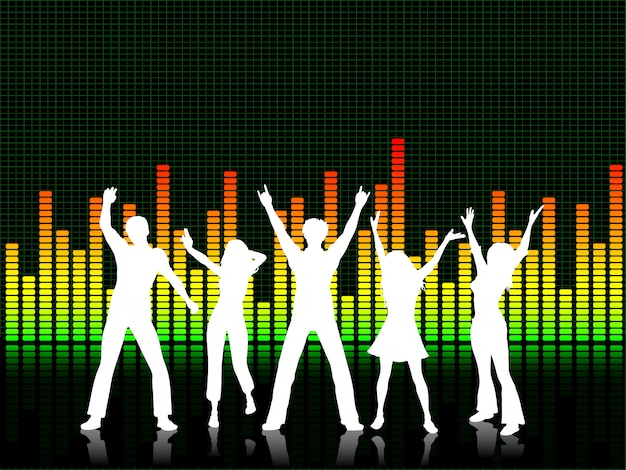 Mensen dansen op grafische equalizer achtergrond