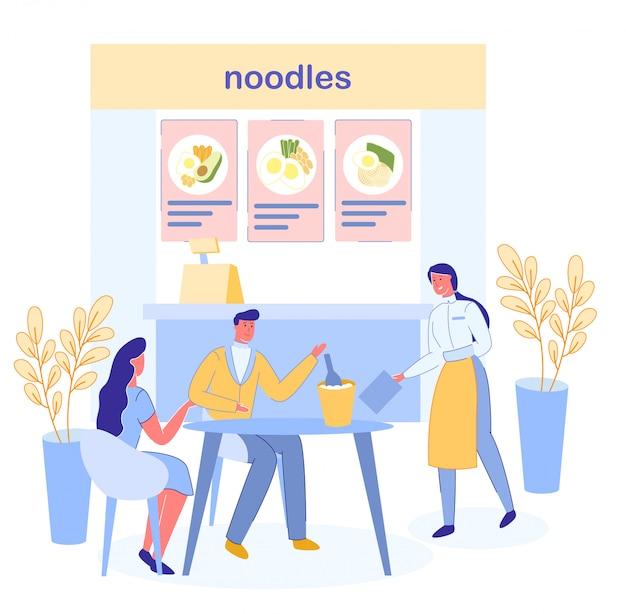 Mensen datum, eten en drinken in restaurant of cafe.