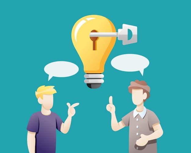 Mensen delen ideeën om problemen op te lossen