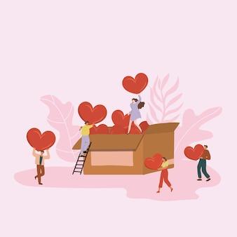 Mensen delen liefde en sociaal ondersteunende zorg. vrijwilligerswerk en liefdadigheidsconcept.