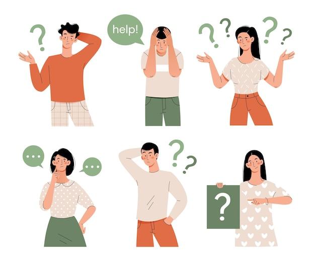 Mensen denken in verschillende posities. verzameling van geïsoleerde platte karakters.