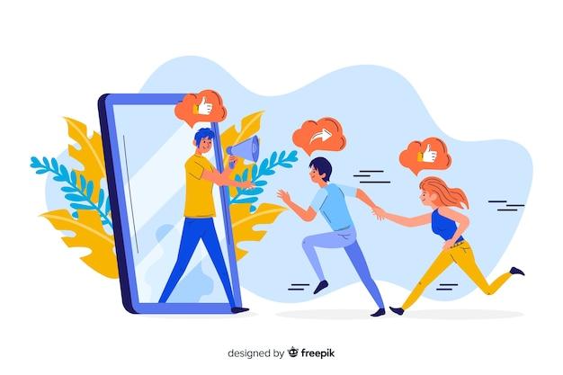 Mensen die aan een het conceptenillustratie van het telefoonscherm lopen
