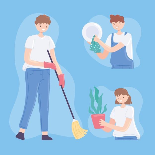 Mensen die aan het schoonmaken zijn