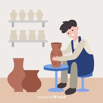 Mensen die aardewerk plat ontwerp maken