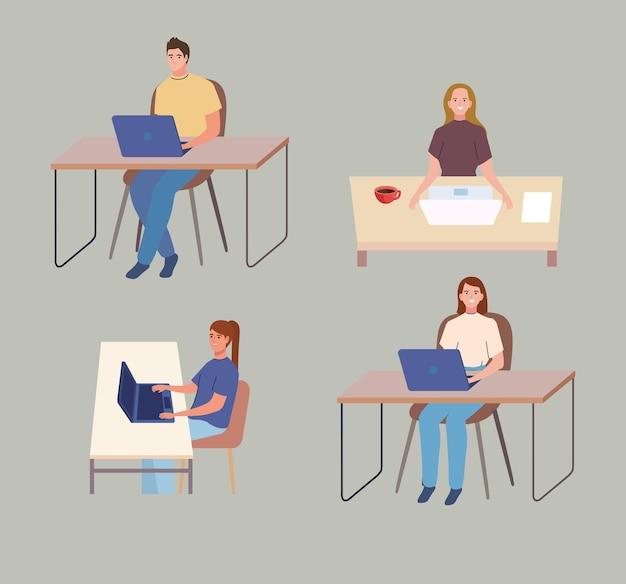 Mensen die achter de computer werken