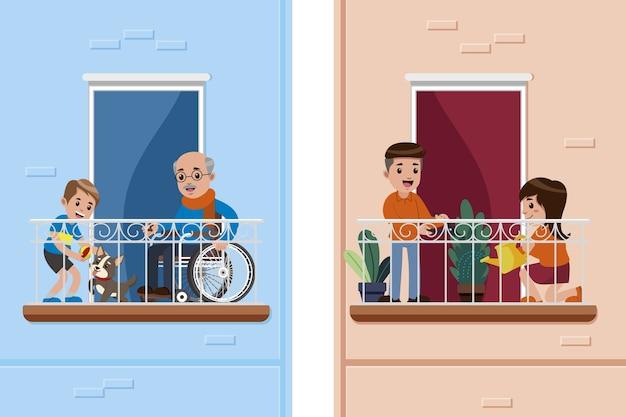 Mensen die activiteiten op balkonontwerp doen