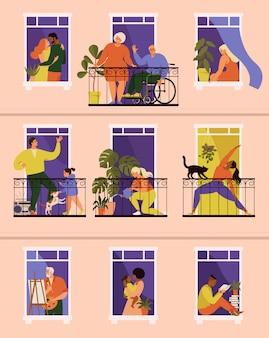 Mensen die activiteiten uitvoeren op hun balkons en ramen