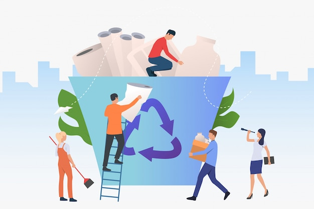 Mensen die afval in grote recyclingsbak zetten