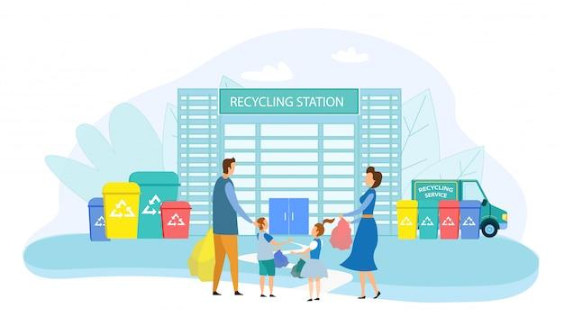 Mensen die afval in verschillende container recycleren