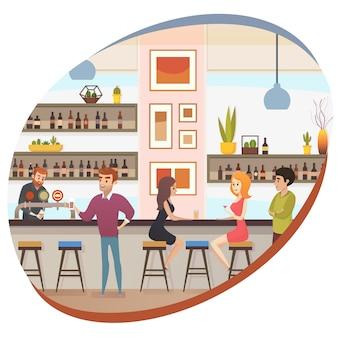 Mensen die alcohol in bar of pub platte vector drinken