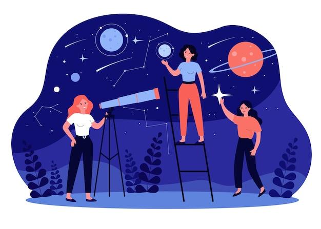 Mensen die astronomie en astrologie bestuderen en telescopen gebruiken voor onderzoek naar melkwegstelsels en planeten. illustratie voor ontdekking, aardrijkskunde, horoscoopconcept