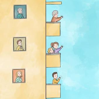Mensen die balkonsconcept slaan