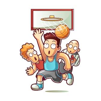 Mensen die basketballen