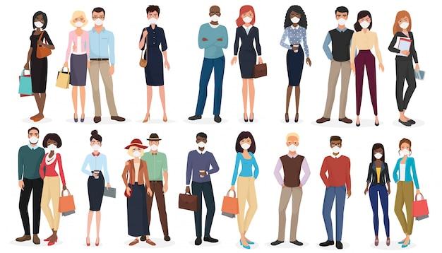 Mensen die bescherming dragen tegen virussen, smog, luchtverontreiniging.