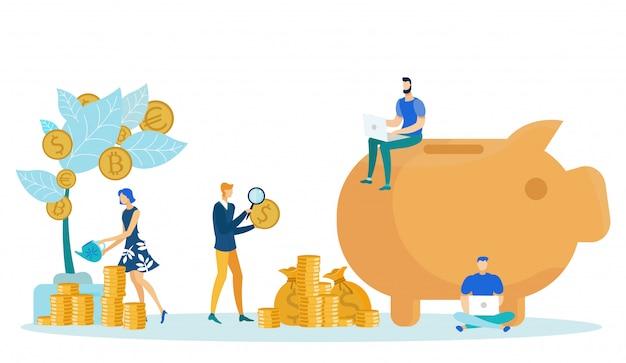 Mensen die besparingen zetten in de geldboom van het spaarvarken.