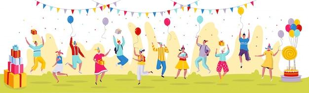 Mensen die bij de viering van de verjaardagspartij springen, illustratie. grappige stripfiguren in moderne vlakke stijl, verjaardagscadeautjes.