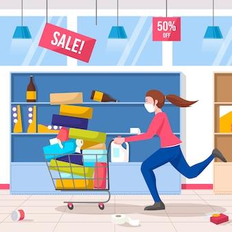 Mensen die bij het geïllustreerde supermarktconcept winkelen
