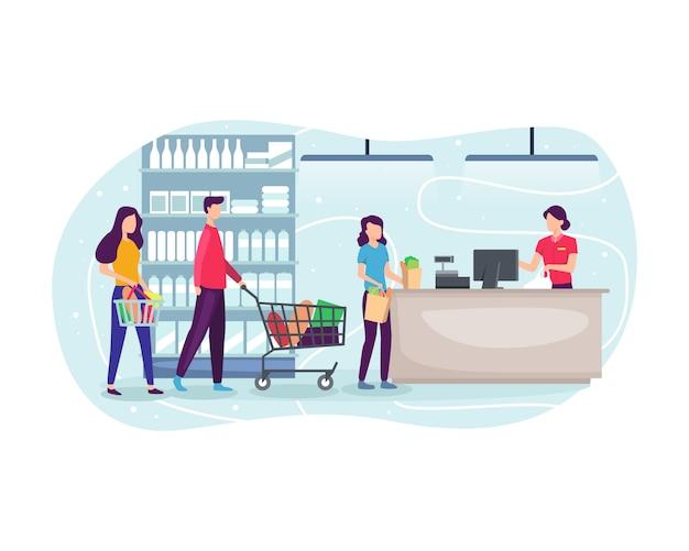 Mensen die bij supermarkt winkelen en product kopen