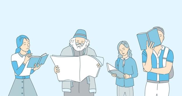 Mensen die boeken, kranten en tijdschriftenbeeldverhaalillustratie lezen.