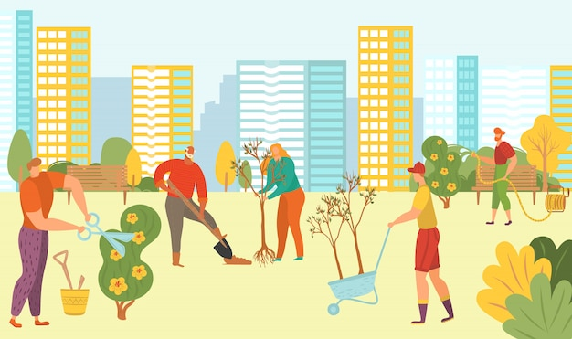 Mensen die bomen in stadspark planten, aard, groene ecolodgical vrijwilligers met nieuwe installaties op cityscape vlakke illustratie als achtergrond.