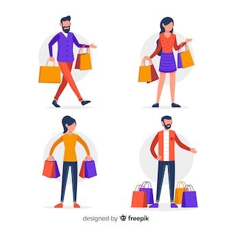 Mensen die boodschappentassen collectio