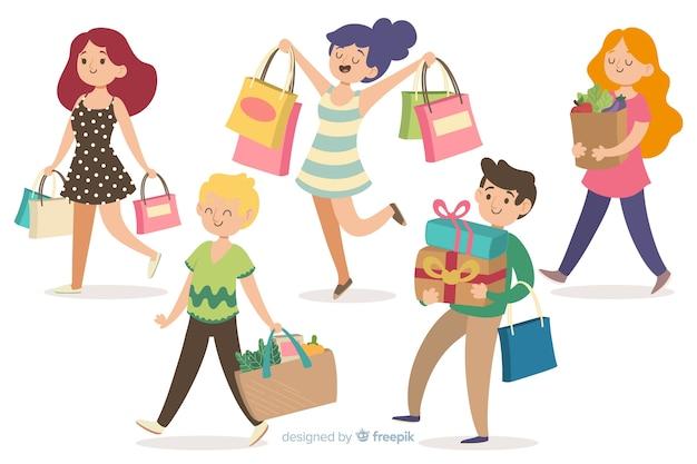 Mensen die boodschappentassen dragen