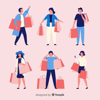 Mensen die boodschappentasseninzameling dragen