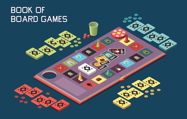 Mensen die bordspellen spelen isometrische compositie met uitzicht op desktop gaming set met kaarten en chips