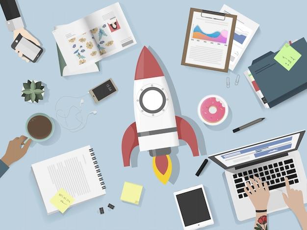 Mensen die brainstorming lancering vectorillustratie ontmoeten