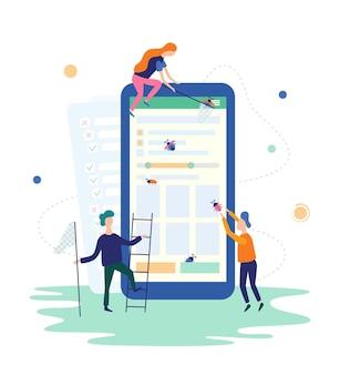 Mensen die bugs vangen in de mobiele app. testen van it-softwaretoepassingen, kwaliteitsborging