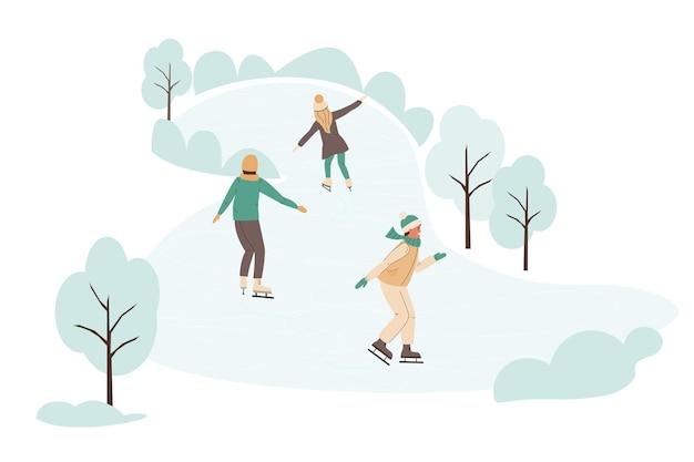 Mensen die buiten op de ijsbaan schaatsen vrolijke kinderen glijden langs het bevroren meer in de winter vrije tijd