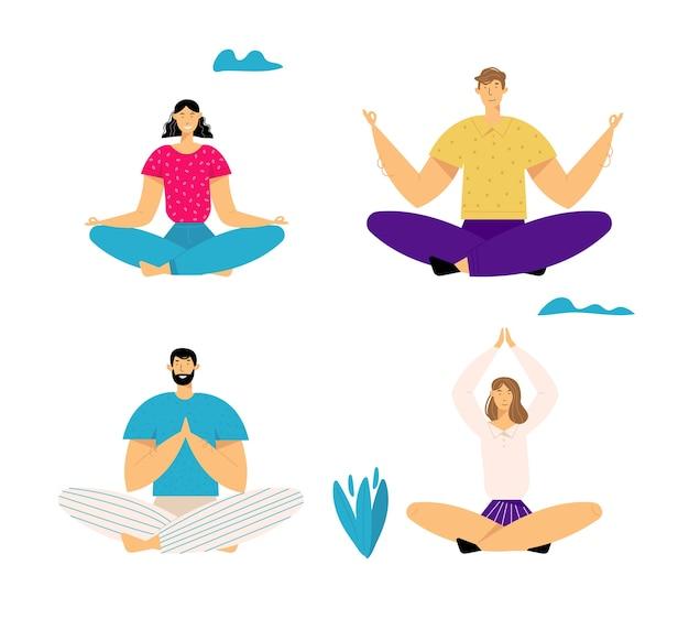Mensen die buitenshuis mediteren