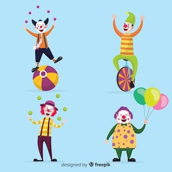 Mensen die clownskostuums dragen
