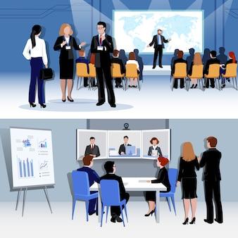 Mensen die concept met conferentie ontmoeten
