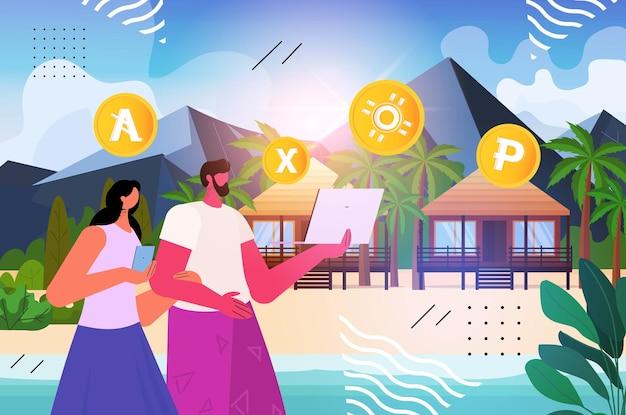 Mensen die cryptocurrency-mijntoepassing gebruiken op laptop virtuele geldoverdracht app banktransactie digitale valuta