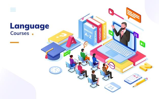 Mensen die cursussen voor vreemde talen volgen