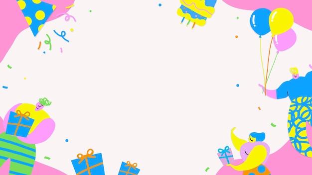 Mensen die de achtergrond van een verjaardagsfeestje vieren Gratis Vector