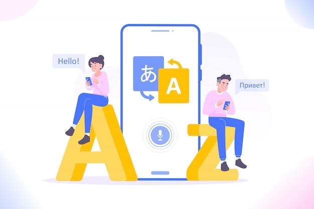 Mensen die de app voor het vertalen van talen gebruiken
