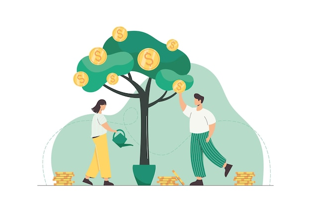 Mensen die de geldboom water geven en gouden munten plukken van een groene plant. succesvolle bedrijfsgroei, inkomen en investeringsconcept. platte karakters die geld verdienen. bedrijf heeft contante financiële winsten.