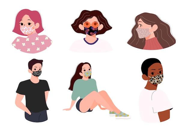 Mensen die de gevormde illustratie van het gezichtsmasker dragen. mannen en vrouwen dragen verschillende patronen stoffen gezichtsmaskers. nieuw normaal, stijlvol en modieus concept