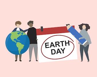 Mensen die de illustratie van de Aardedag vieren