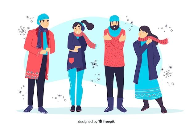 Mensen die de illustratie van de winterkleren dragen