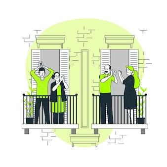 Mensen die de illustratie van het balkonsconcept slaan