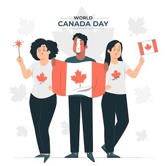Mensen die de illustratie van het de dagconcept van canada vieren