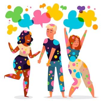 Mensen die de illustratie van het holifestival vieren