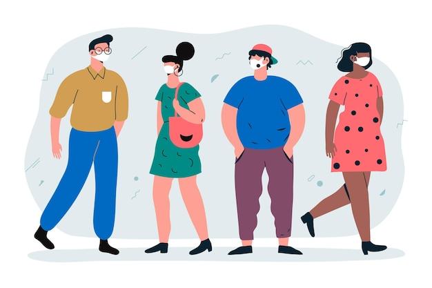 Mensen die de illustratie van stofgezichtsmaskers dragen