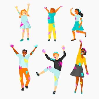 Mensen die de illustratieconcept vieren van het holifestival