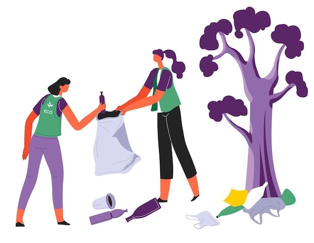 Mensen die de omgeving schoonmaken van afvalvervuiling en plastic. vrijwilligers met zakken die achtergelaten afval verzamelen. ecologie en vrijwilligerswerk van personages. eco organisatie vector in flat
