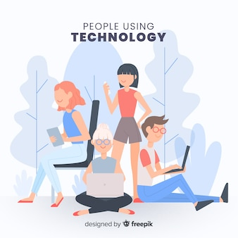 Mensen die de verzameling van technologische apparaten gebruiken